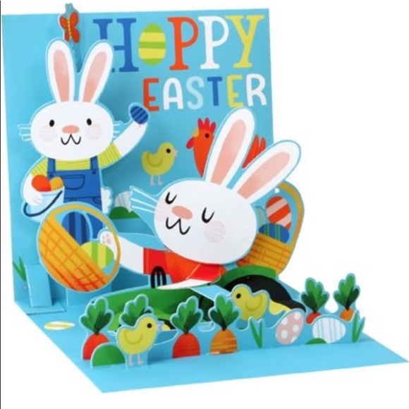 pop greetings Other - Pop-Up Treasures Greeting Card Farmer Bunny Easter